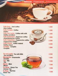 carta de cafés y tés