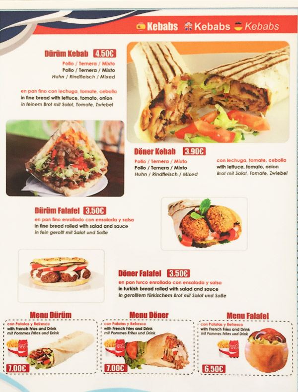 carta de kebab, falafel, dürum i döner