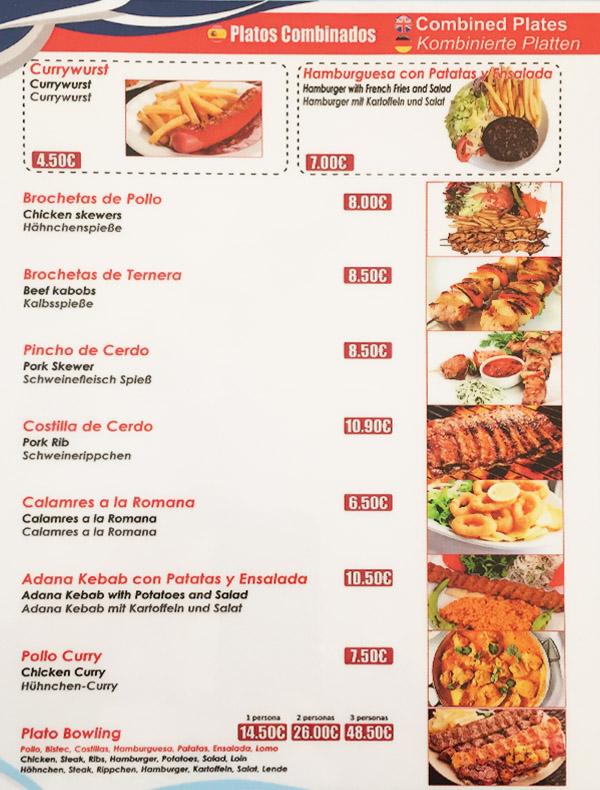 carta de platos combinados